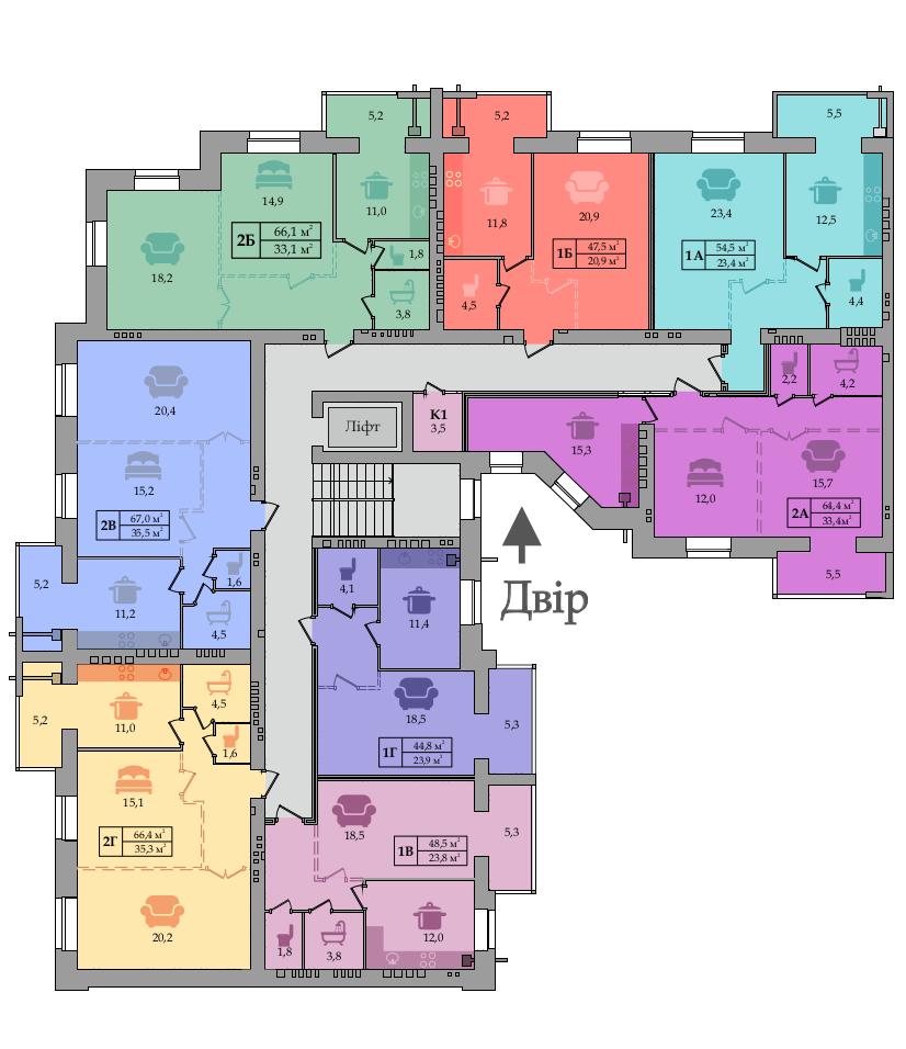 Секция №9 (2-5 этажи)