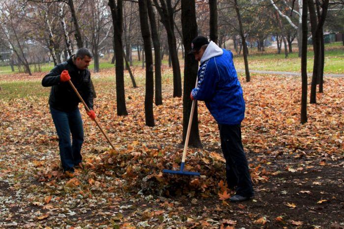 Мариупольцы очистили от листвы парк Победы (ФОТО), фото-1