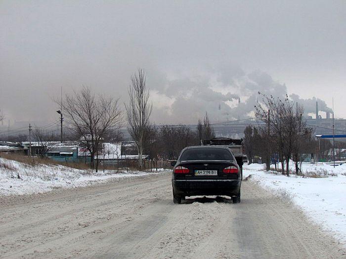 авто город и дым