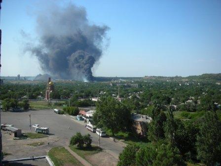 В Горловке горело замасленное болото, фото-1