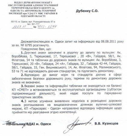 «Общественный контроль дорог» заставил Одесскую ГАИ признать незаконность дорожных знаков парковки, фото-1