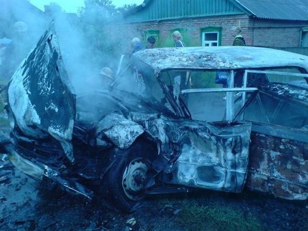 В Артемовске в результате ДТП «Жигули» сгорели дотла (фото), фото-1