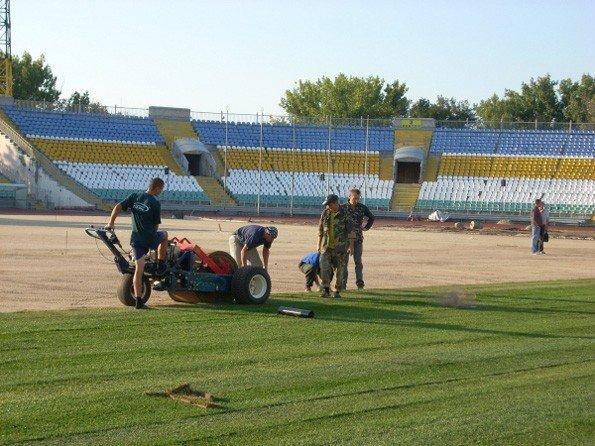 На стадионе «Авангард» начались работы по укладке газона, фото-2
