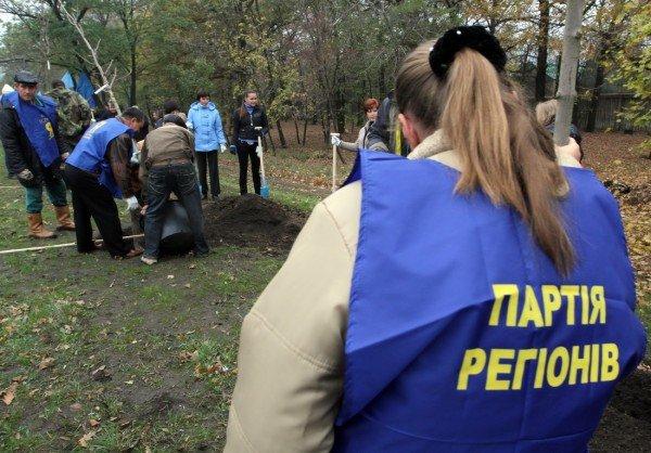 Дончане вышли на субботник под знаменами регионалов и в голубых партийных жилетах (фото), фото-1