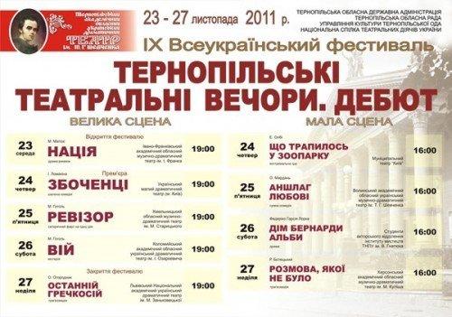 Розпочинається ІХ Всеукраїнський фестиваль «Тернопільські театральні вечори. Дебют» (програма), фото-1