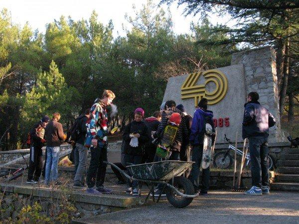 Начало  разметки велотрасс в сквере «Победа», фото-1