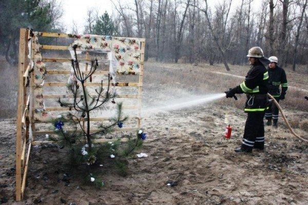 Запорожские спасатели торжественно сожгли новогоднюю елку (ФОТО), фото-3