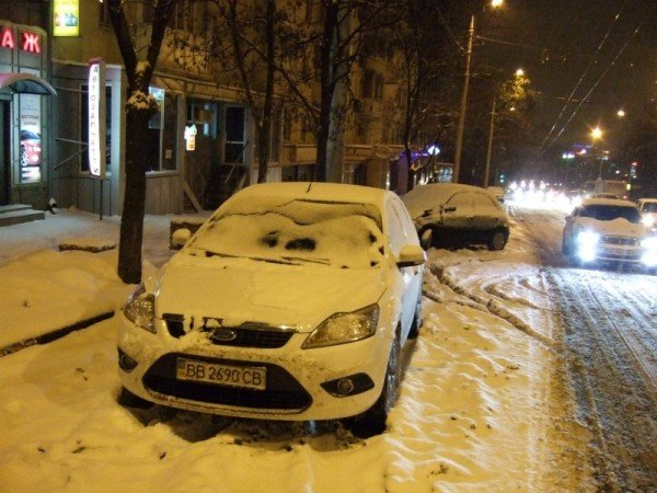 Снегопад парализовал движение в Донецке (фото), фото-1