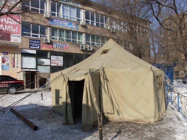 Донецкие бомжи смогут  отогреться  от лютых морозов в палатках МЧС (фото), фото-2