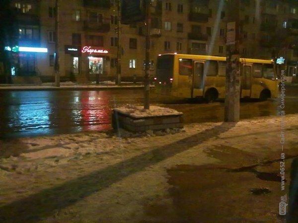 В Симферополе вода подтопила остановку (фото), фото-1