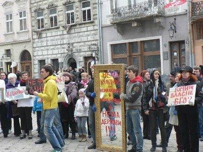 Міжнародний день театру у Львові відзначили «дзеркальним» протестом, фото-2