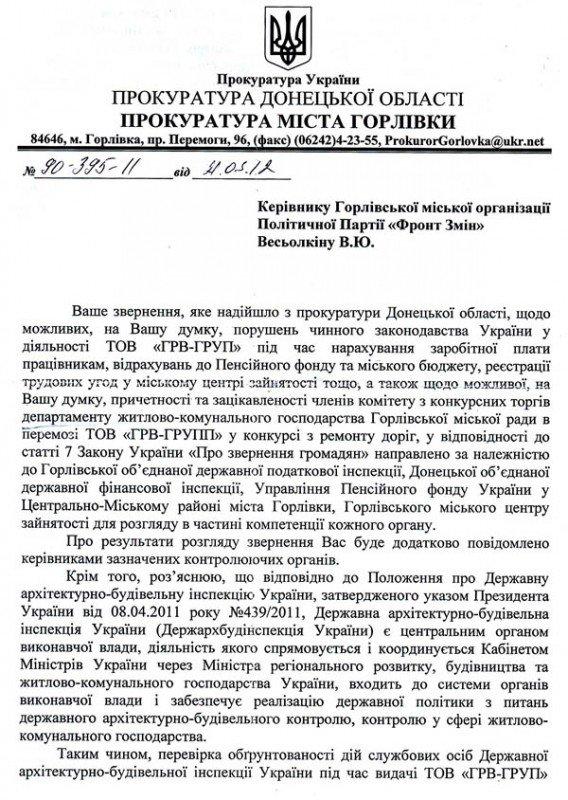 Прокуратура Горловки начала проверку деятельности ООО «ГРВ-ГРУПП», фото-1