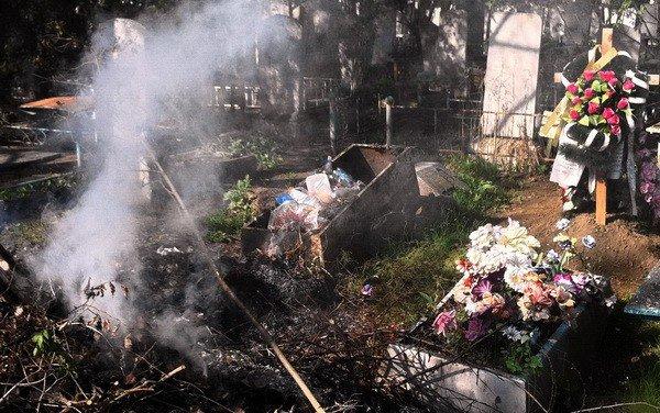 В Запорожье горит Осипенковское кладбище (ФОТО), фото-1