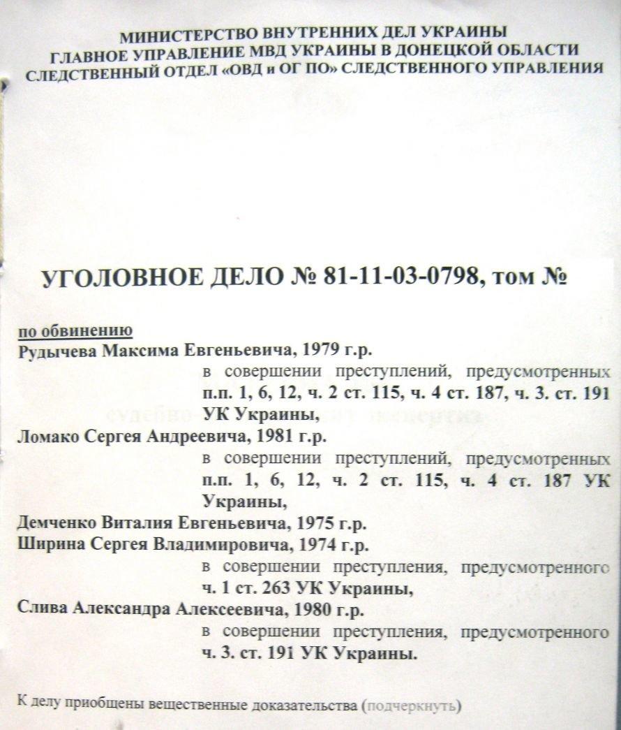 Титульный лист тома дела
