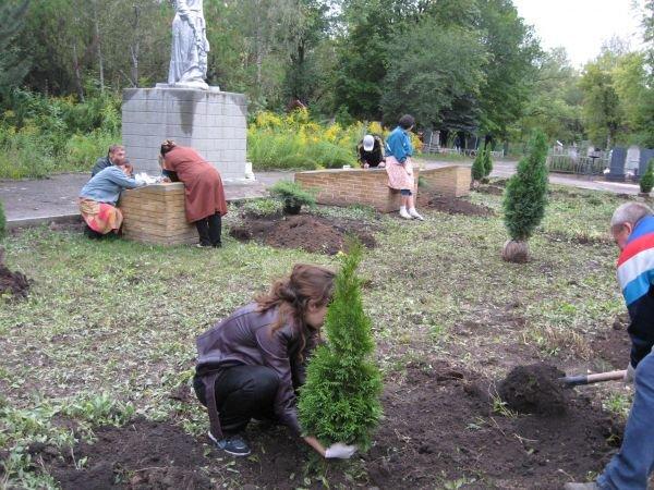 На артемовском кладбище вандалы выкопали туи, высаженные на комплексе братских могил, фото-4