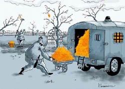 """Дм.Скаженик. Карикатура """"Осень""""."""