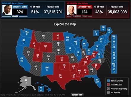 Барак Обама победил на президентских выборах в США (карта)  , фото-1