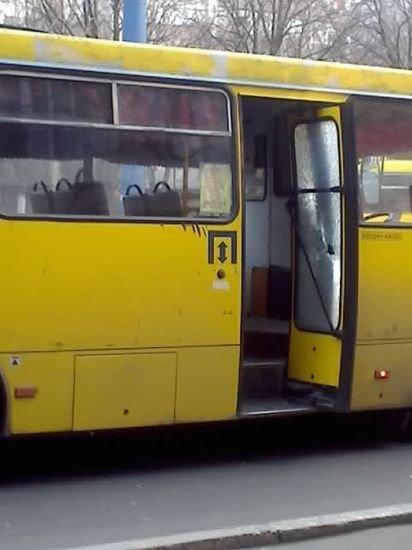 В Мариуполе старушка посохом разбила дверь маршрутки (ФОТО), фото-1