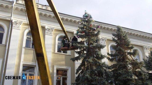 В центре Симферополя уже наряжают елки, фото-1