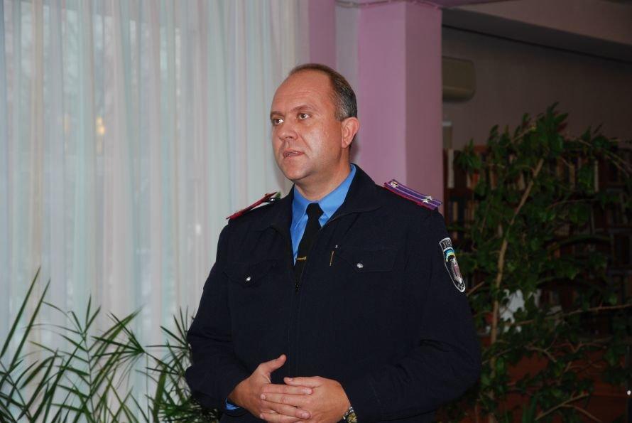 Выступление преподавателя Мариупольского  ущилища милиции Поном арева П. В.