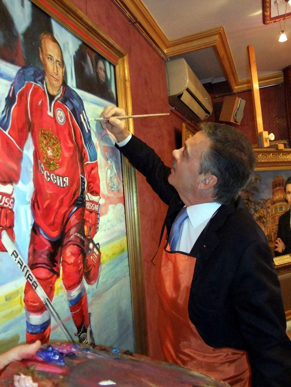 Как президент ИИХФ в Донецке портрет Путина рисовал (фото), фото-2