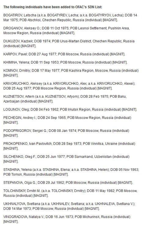 """США обнародовали """"список Магнитского"""", фото-1"""