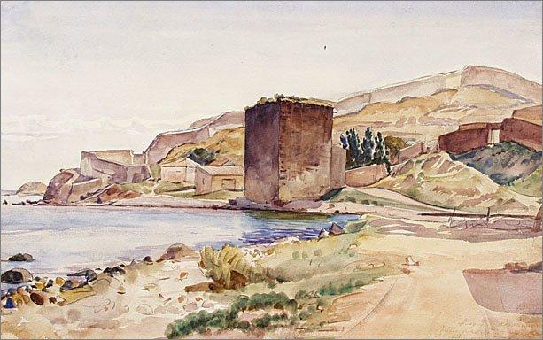 К.Ф.Богаевский. Доковая башня. Б., акв., 1924
