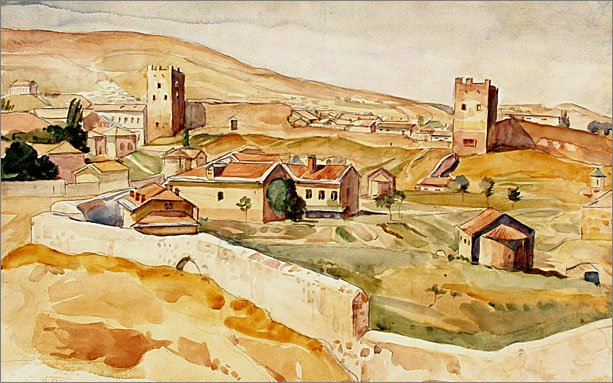 К.Ф.Богаевский. Старая Феодосия. Б., акв., 1924.