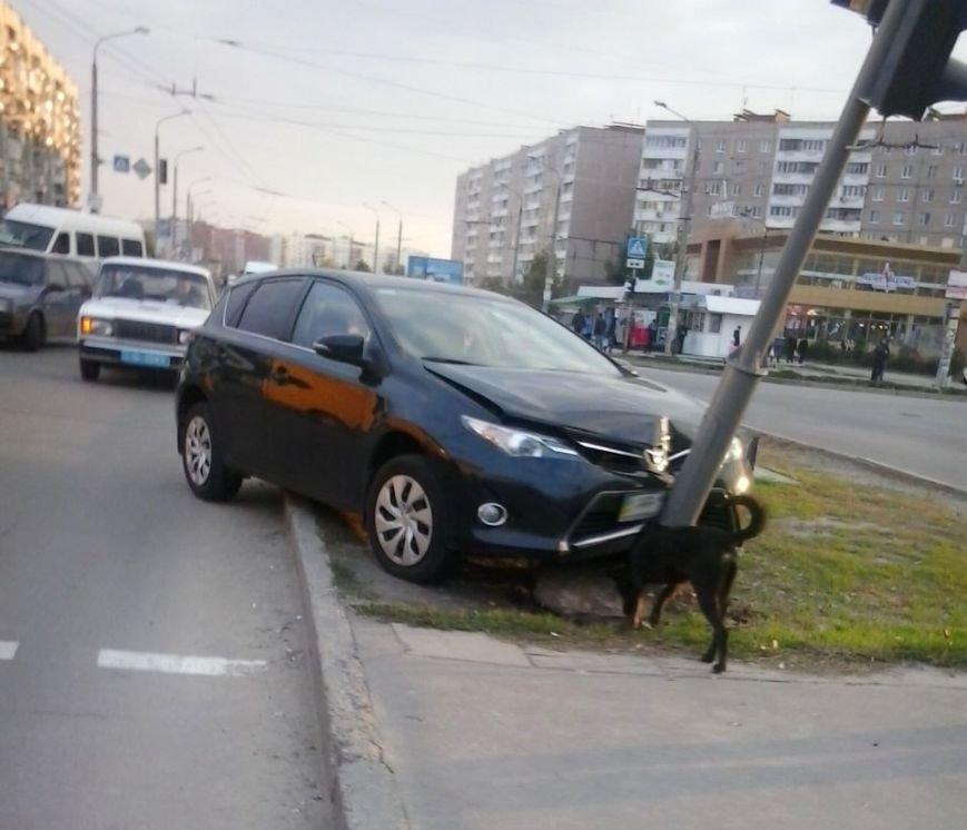 В Запорожье иномарка сбила знак пешеходного перехода (ФОТО), фото-1