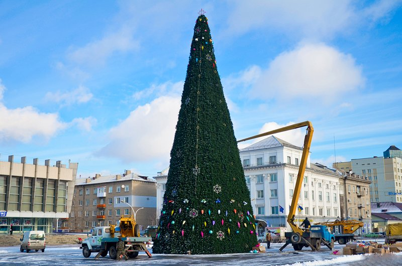 В Луганске установили главную елку теперь ее украшают (ФОТО), фото-4