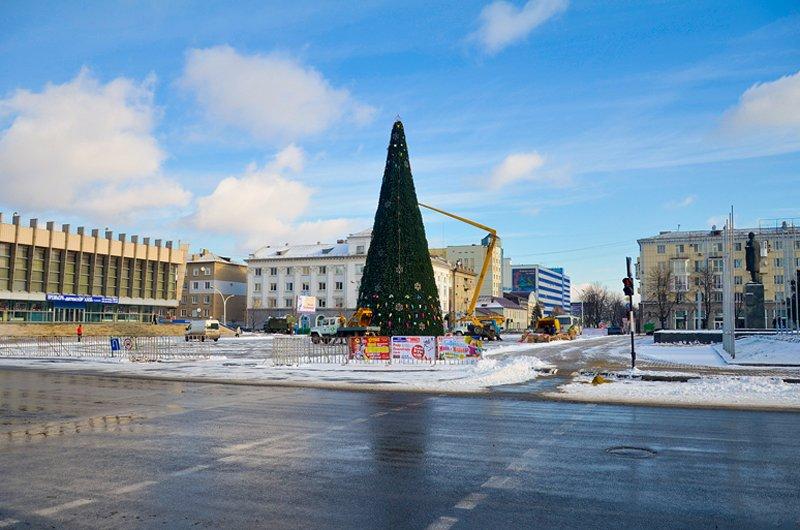 В Луганске установили главную елку теперь ее украшают (ФОТО), фото-1