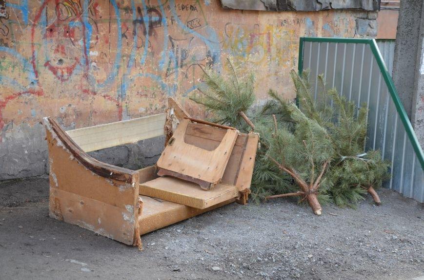 В Мариуполе выброшенные елки превратились в горы мусора (Фотофакт), фото-4