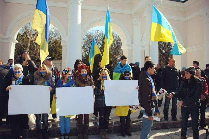 В Симферополе девушки заклеили себе рты и вышли на митинг (ФОТО), фото-1