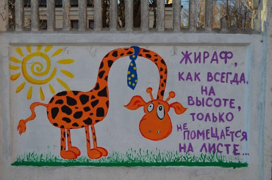 ФОТОФАКТ: Симферопольцам с граффити рассказали о жирафе в галстуке и счастливом коте, фото-6