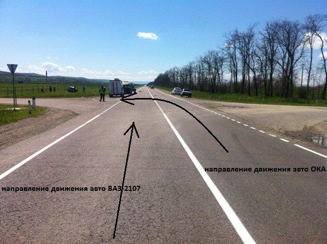 направление движения ВАЗ-2107 и ОКА
