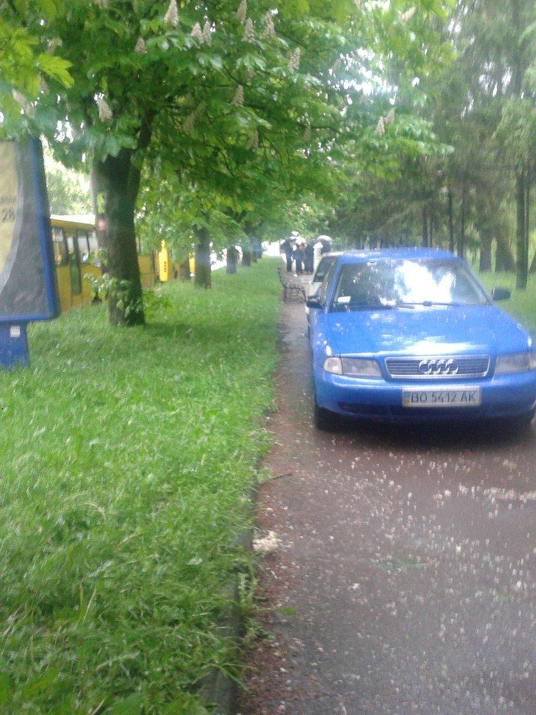 У Тернополі водії паркуються посеред тротуару (фото), фото-1