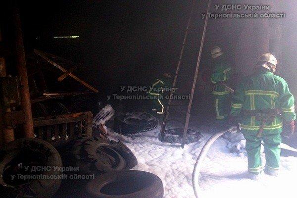 На Тернопільщині з невідомих причин виникла пожежа на території приватного підприємства (фото), фото-1