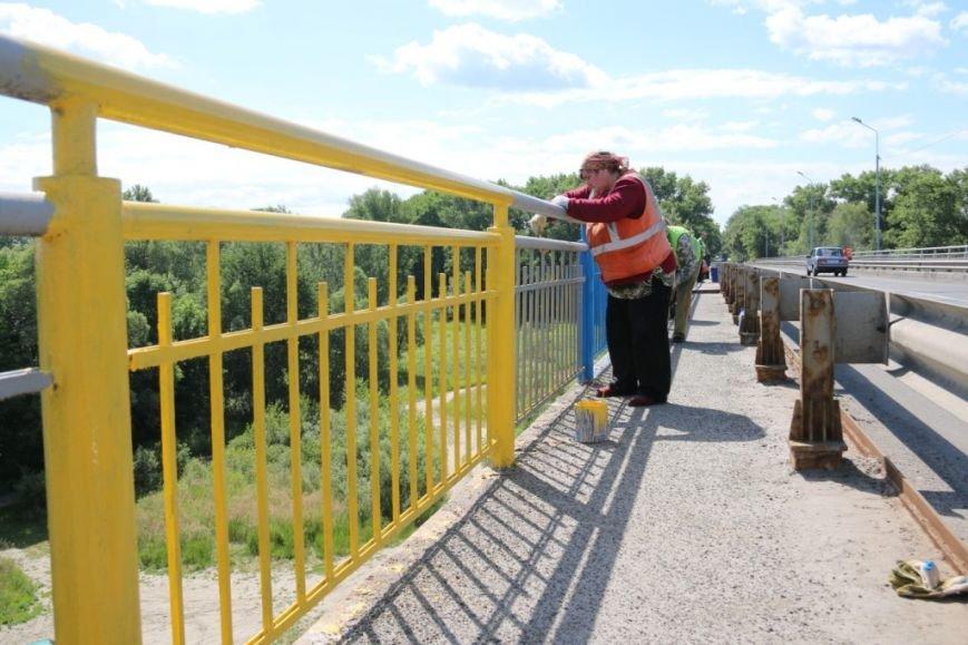 Автомобильный мост в Чернигове раскрасили в патриотические цвета, фото-4