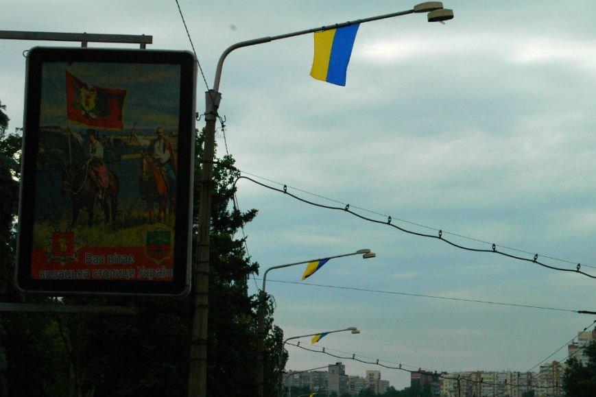 ФОТОФАКТ: В Запорожье дамбу «нарядили» в украинские флаги, фото-3