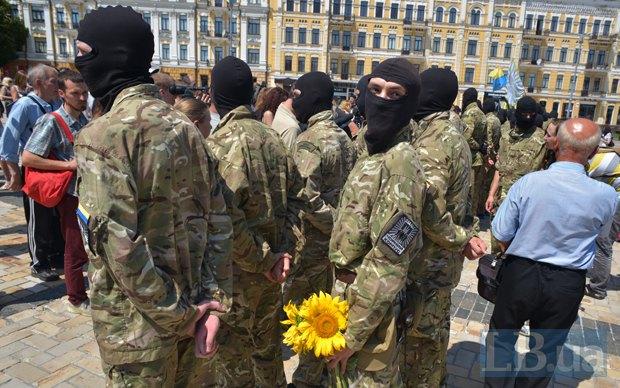 В Киеве в зону АТО провожали новобранцев батальона «Азов» (ФОТО), фото-13