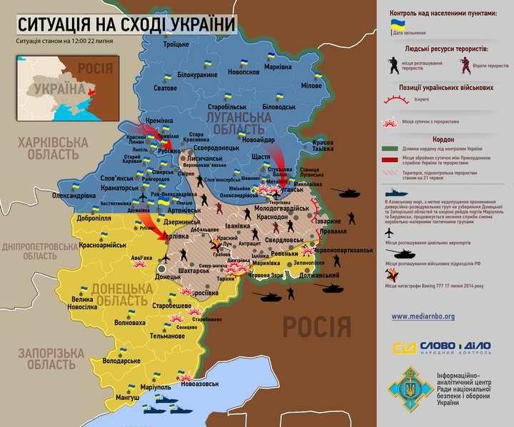 Карта боевых действий на «восточном фронте» от СНБО, фото-1