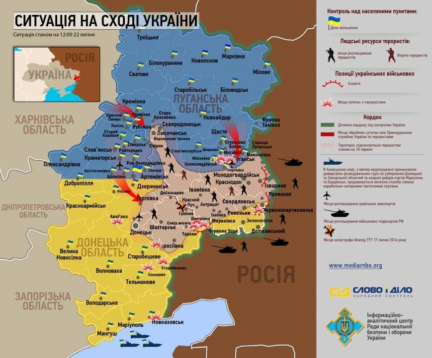 Битва за Донбасс - ситуация на 22 июля (карта боев), фото-1