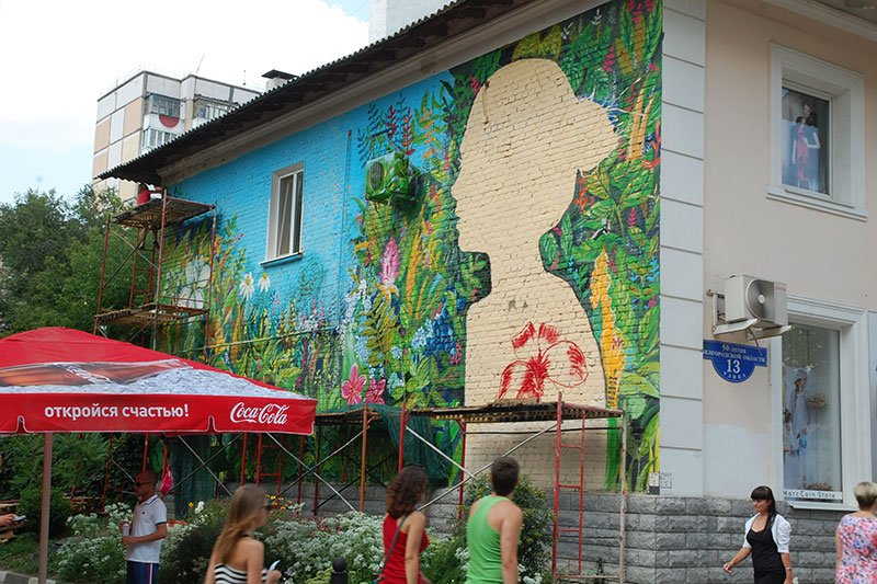 Победительницы конкурса граффити расписали дом в центре Белгорода, фото-5