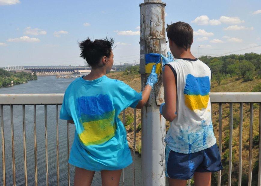 В Запорожье школьники приступили к раскрашиванию арочного моста, фото-3