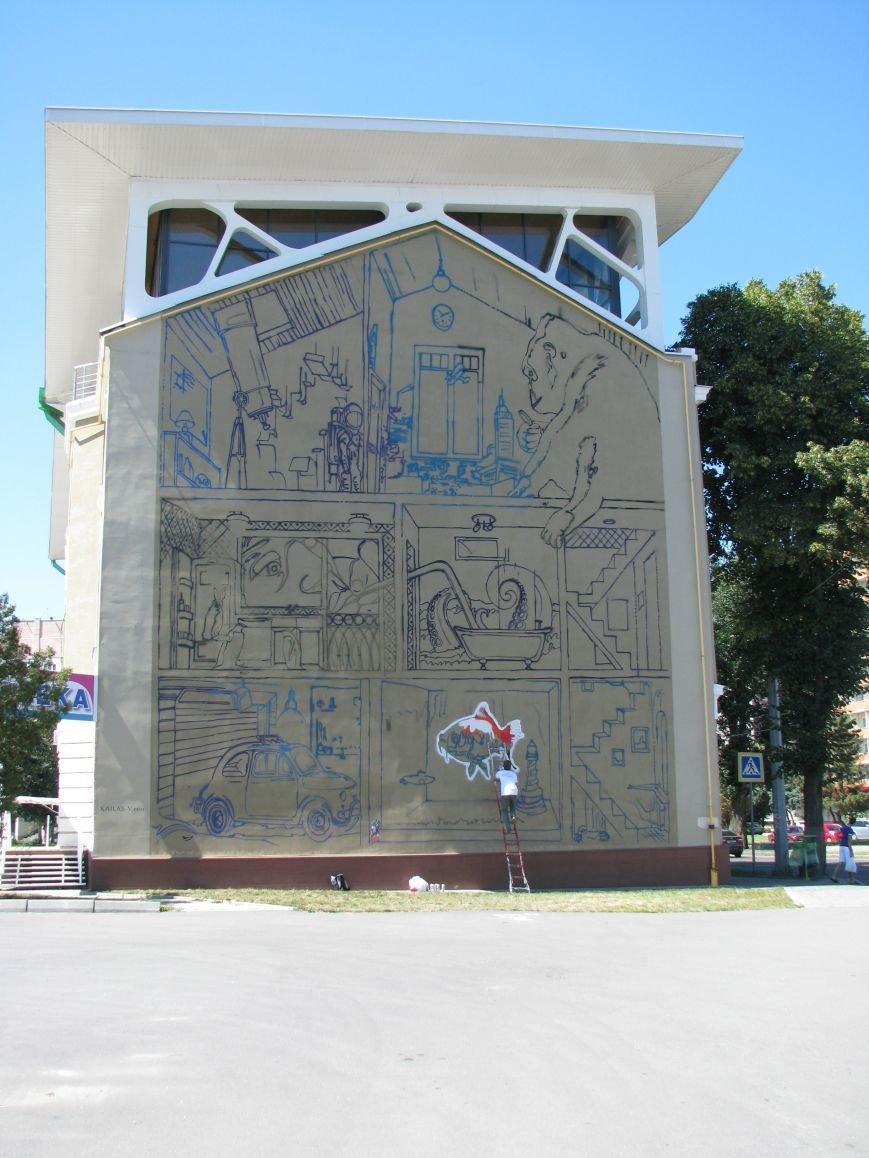 В Харькове рисуют огромное граффити напротив стадиона «Металлист», фото-2