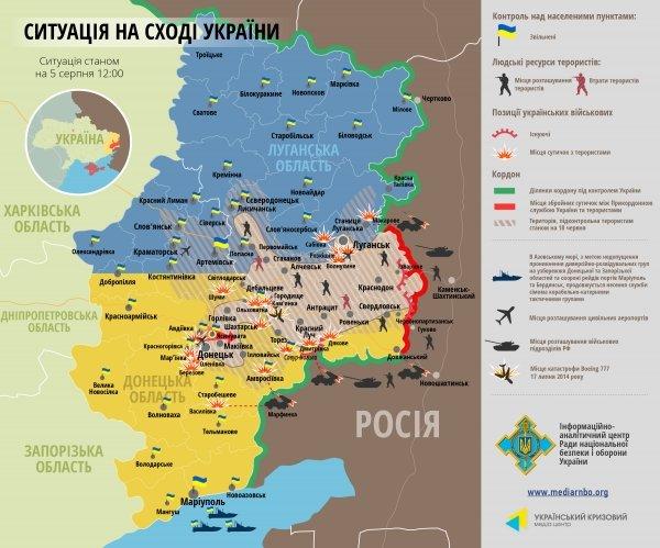 Битва за Донбасс - ситуация на 5 августа (карта боев), фото-1