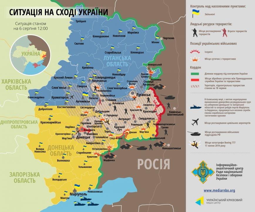 Битва за Донбасс - ситуация на 6 августа (карта боев), фото-1
