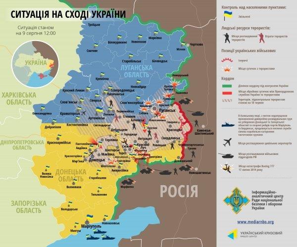 Битва за Донбасс - ситуация на 9 августа (карта боев), фото-1