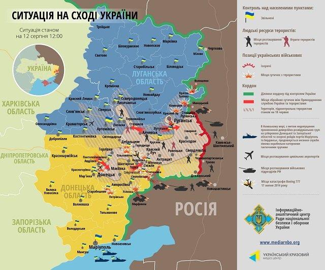 карта боев 12 августа