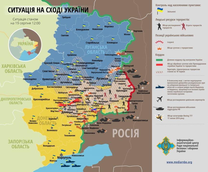 Битва за Донбасс - ситуация на 19 августа (карта боев), фото-1